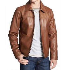 Tan Brown Leather Formal Style Jacket 2005 By Di Pelle