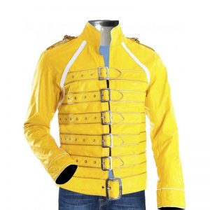 Yellow Premium Faux Leather Regular Fit Stylish Jacket Freddie Men By Cavalry