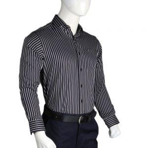 Men's Cotton Striped Shirt - Black