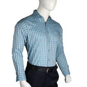 Men's Egyptian Cotton Check Shirt - Cyan