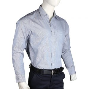 Men's Stripes Formal Shirt - Grey