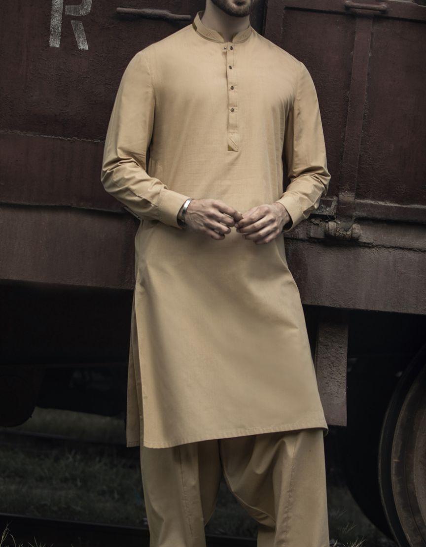 3acf6e4a54 Junaid Jamshed Summer Collection 2019 DULL GREEN Polyester Viscose Regular  Kameez Shalwar for Men 103924561