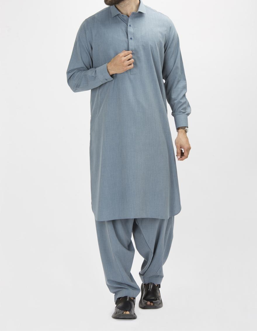 7282e179f3 Junaid Jamshed Winter Collection 2018 Greyish Blue Polyester Viscose  Regular Kameez Shalwar for Men 101228001