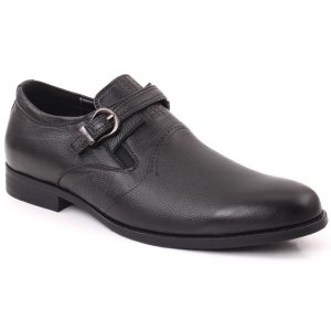 Unze London Men HANK Round Toe Designed Belted Metallic Buckle Slip On Leather Formal Shoes GS6788