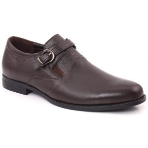 Unze London Men HANK Round Toe Designed Belted Metallic Buckle Slip On Leather Formal Shoes GS6789