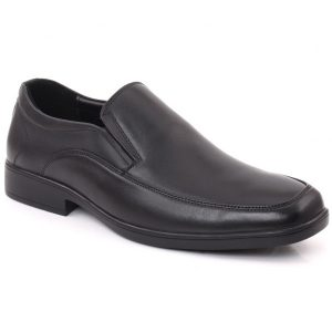 Unze London Men LORENZO Leather Slip On Moc Toe Stitched Detail Formal Shoes GS6792