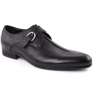 Unze London Men REID Stitched Style Belted Round Toe Leather Formal Shoes GS6592