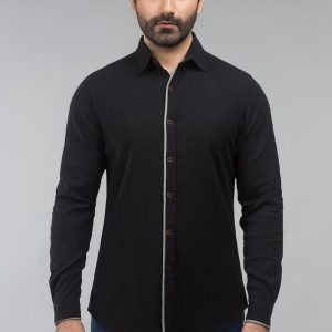 Gul Ahmed Black Casual Shirt CM-YD-2696
