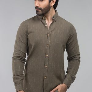 Gul Ahmed Green Stripe Casual Shirt CM-YD-2711