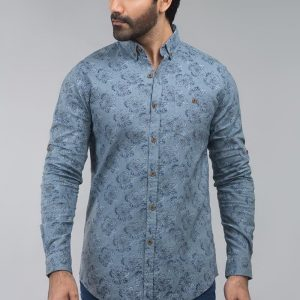 Gul Ahmed Grey Navy Casual Shirt CM-YD-2585