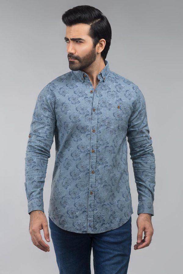 Gul Ahmed Grey Navy Casual Shirt CM-YD-2585
