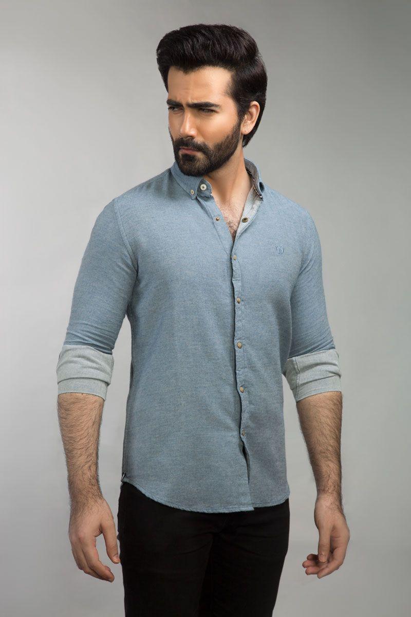 Gul Ahmed Light Blue Casual Shirt CM-YD-2673 - Menswear.pk