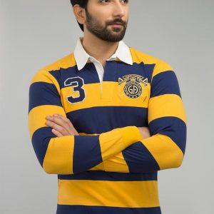 Gul Ahmed Mustard Yarn Dyed Polo FS-SJP-YD-D07